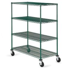 OLYMPIC Four-Shelf Green Epoxy Round-Post Wire Trucks by Olympic. $383.00. Backed by a 7-year warranty, very durable OLYMPIC Four-Shelf Green Epoxy Round-Post Wire Trucks feature chrome wire shelves and chrome posts with a tough green epoxy finish. Perfect for wash-down, freezer/cooler, or damp applications. Transport and store a multitude of items in the warehouse or office on these wire carts. Open wire design improves visual checks of contents, permits light and air flow, a...