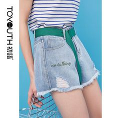 Toyouth 2019 Summer Denim Shorts Women Jeans Ripped Shorts Fashion Letter Embroidery High Waist Loose Hot Shorts with Belt - ThealiceOnline Ripped Shorts, Hot Shorts, Denim Shorts, Summer Denim, Cheap Jeans, High Waist Jeans, Clothes For Women, Letter, Embroidery Fashion