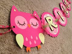 Hot Pink and Lime green Owl personalized name banner, owl birthday party (w/ embelleshments) on Etsy, $28.00
