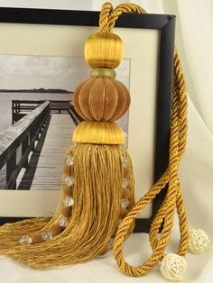 7 Colors QYM34 Polyester and Acrylic Curtain Tassel Tie Backs in Brown Color