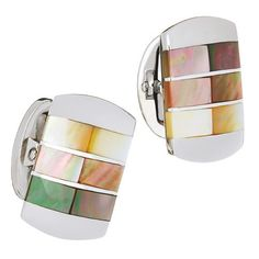 Ombre Everywhere Ombre is trending everywhere right now, so make sure that your cuffs are on-trend and in-style. These cuff links create a detailed accent piece with ombre inserts blue of mother-of-pe