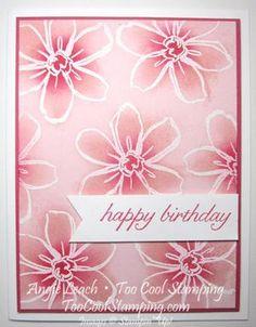 Sponged Emboss Resist Garden In Bloom Cards Birthday Cards For Women, Handmade Birthday Cards, Happy Birthday Cards, Card Birthday, Making Greeting Cards, Scrapbook Cards, Scrapbooking, Card Making Techniques, Card Tutorials
