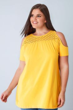 Yellow Cold Shoulder Jersey Top With Lace Yoke Size 14, Plus Size, Bardot Top, Spring Outfits, Cold Shoulder, That Look, Spring Summer, Elegant, Yellow