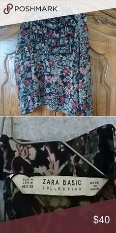 Zara printed ruffle frill blouse size med. EUC only worn once Zara Tops Blouses