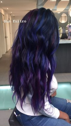 24 new hairstyle and color ideas for 2019 - All For Hair Color Balayage Pretty Hair Color, Beautiful Hair Color, Hair Color For Black Hair, Dark Hair, Blue Purple Hair, Black To Purple Ombre, Raven Hair Color, Royal Blue Hair, Hair Dye Colors