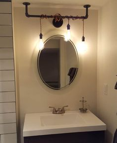 industrial bathroom mirror light lighting diy fixtures above