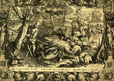 Hunting scene; a wild boar has been driven into a net and is impaled with a spear and attacked by a pack of dogs; ornamental surround with statues of Diana.  1570 Engraving