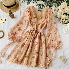 Cute Dresses, Casual Dresses, Fashion Dresses, Dresses With Sleeves, Mini Dresses, Fall Dresses, Party Dresses, Formal Dresses, Floral Chiffon Dress