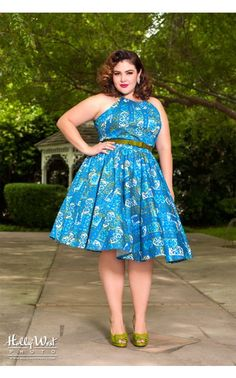 Pinup Couture- Harley Dress in 1960s Print - Plus | Pinup Girl Clothing