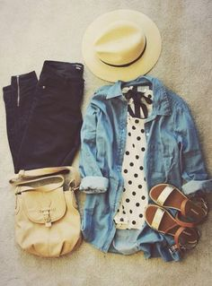 shirt polka dots denim jacket denim shoes gladiators sandals flat sandals flats jeans hat blouse t-shirt bag