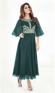 Bottle Green Georgette A-line Style Party Wear Readymade Kurtis   FH549982320 Follow us @heenastyle  #partywearkurtisheenastyle #partywearkurtis #pakistanikurtionline #kurtis #fashionkurti #designers #fashiontrends #womenkurti #heenastyle