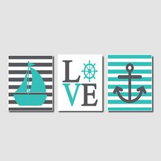 Nautical Wall Art Sailboat Love Captains Wheel Anchor Turquoise Pewter Set of 3 Prints Modern Boy Nursery Bathroom Bedroom Decor Picture
