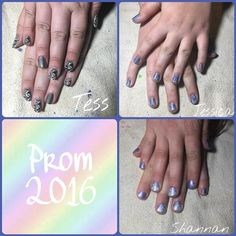 "Hey guys!! Here are all my friends nails that I did for prom!! I thought I would share them with you! Tess' nails were a black and white ""watermarble"" with a holo accent! Products used: - @iamcustomcolor 'Sauced' - @sinfulcolors_official ""Snow Me White"" - @bundlemonster Plate BM- XL210  Sloteazzy - Konad black stamping polish - @glistenandglow1 HK Girl Topcoat - @latexfashions Teal Latex  Jessica's nails were a holo base with a blue floral stamp! Products used: - @orlynails ""Mirrorball""…"