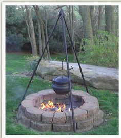 """Tripod Heavy Duty Adjustable w/Cable and pulley 70"""" high Outdoor Cast iron cook - Other"""