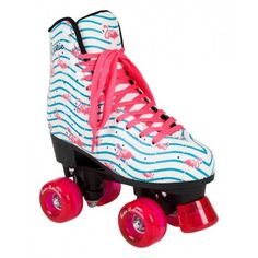 The Rookie Flamingo White / Multi Quad Rollerskates look fabulous and we know you'll agree! With their silhouette based on our Classic skate, the Fruits and Flamingos have that classic figure skating look, but with a funky, fun twist. Retro Roller Skates, Roller Derby Skates, Quad Skates, Roller Skating, Ice Skating, Figure Skating, Rollers, Rio Roller, Aggressive Skates