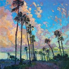Contemporary Impressionism Art Gallery in San Diego California Featuring the Artwork of Erin Hanson Sky Painting, Oil Painting For Sale, Large Painting, Paintings For Sale, Painting Classes, Palm Tree Paintings, Erin Hanson, Landscape Artwork, Impressionism Art