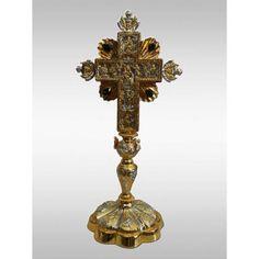 Altar Cross gold & silver plated Altar, Blessing, Silver Plate, Candle Holders, Plating, Candles, Gold, Silverware Tray, Porta Velas