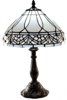 Tiffany-style-White-Jewels-Table-Lamp-White-Paired-with-gold-finished-metal-base