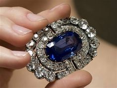 Brooch from a sapphire and diamond demi-parure, circa 1900, inherited from Grand Duchess Maria Pavlovna by her daughter Princess Elena of Greece and Denmark, Grand Duchess of Russia (1882-1957)