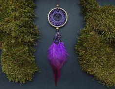 Gold amethyst purple dream catcher rear view by DeiDreamCatchers