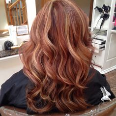 #copper #strawberry #curls #foils #highlight #long