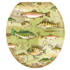 Lena Fiore – Toilet Tattoos – Gone Fishing Toilet Tattoo Decorative Toilet Seat Lid Decal / Applique – Made in U.