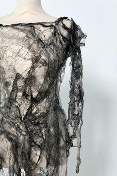 Grey Silk Fibre Dress - creative textiles surface design exploring the idea of impermanence - textiles for fashion // Shirley Buchan. So Miss Havisham. Nachhaltiges Design, Detail Design, A Level Textiles, Creative Textiles, Fashion Art, Fashion Design, Dress Fashion, Trendy Fashion, Fashion Textiles
