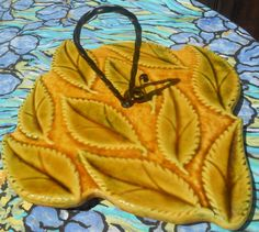 Yellow French Hand painted leaves Cheese Tray - French Provence #Pottery Platter from #Vallauris signed . Black iron twisted and screwed handle with the cheese knife's space ... #antiquedecor #victorian #antiques #homedecor #porcelain #pottery #picasso #vallauris