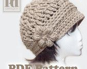 Ladie's Cloche with flower and braided trim Crochet PDF Pattern
