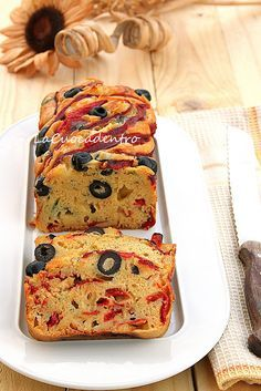 Cake with peppers, olives and Pecorino Toscano