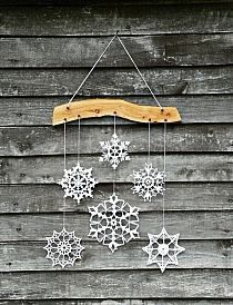 Elegant Christmas decoration - snowflakes mobile - holiday decor - crochet snowflake and wood ornament for cozy home Noel Christmas, All Things Christmas, Winter Christmas, Christmas Ornaments, Christmas Snowflakes, Xmas, Snowflake Ornaments, Handmade Christmas, Christmas Thoughts