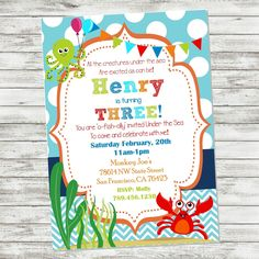 Under the Sea Birthday Invitation - Ocean Invitation - Fishy Printable Invitation - Ocean Invite - Under Sea Party Supplies - PERSONALIZE by PicklesAndPosies on Etsy