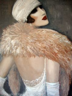 MIAMI COLLECTION by artist Mo Welch from Hampshire, UK - A collection of original figurative images, abstract & contemporary paintings in acrylic & mixed media on canvas depicting fashion trends of various time periods / http://mowelch.theartistsweb.co.uk/