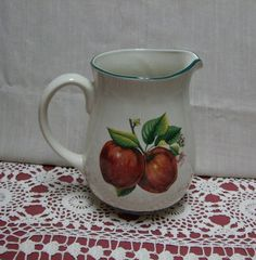 Ceramic Apple Pitcher Jug Casuals China Pearl Red by trudysattic