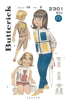 Butterick 2301 Girls 60s Sportswear Sewing Pattern; Blouse, Pants, Bermuda Shorts. Size 3 Breast 22 by Denisecraft on Etsy