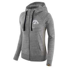 Women's Nike Iowa Hawkeyes Vintage Full-Zip Hoodie, Size: Large, Grey