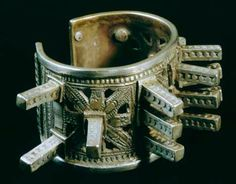 Gorgeous and huge silver Ouled Nail bracelet from the Peabody Museum collection.