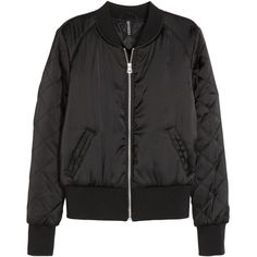 H&M Bomber jacket ($46) ❤ liked on Polyvore featuring outerwear, jackets, black, quilted bomber jacket, zip jacket, lined jacket, black zipper jacket and padded bomber jacket
