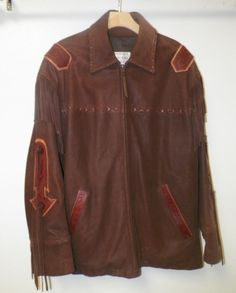 MEN'S LONE PINE BROWN LEATHER ZIP FRONT JACKET WITH INDIAN PRINT DESIGN SZ L #LONEPINE #ZIPFRONT