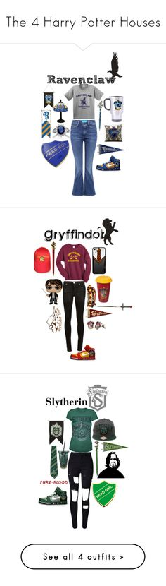 """""""The 4 Harry Potter Houses"""" by nutellaliv ❤ liked on Polyvore featuring M.i.h Jeans, NIKE, Alyx, WithChic, Frame Denim and harrypotter"""