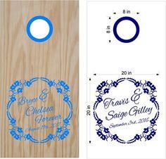 Flowers Monogram Wedding Day Cornhole Board Vinyl Decal Sticker Graphic Custom Text Bean Bag Toss
