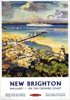 New Brighton, Wallasey, Merseyside, Cheshire Coast. BR (LMR) Vintage Travel Poster by L A Wilcox Posters Uk, Train Posters, Railway Posters, Poster Prints, Art Print, British Travel, British Seaside, National Railway Museum, New Brighton