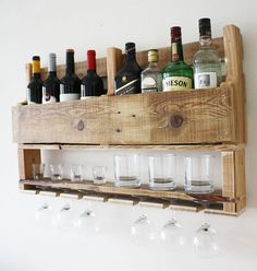This amazing wooden wine rack wall mounted is made from reclaimed wood. Its rustic loo kwould look amazing in a cigar bar or next to your alcohol collection at home or office. So if you are a wine and whiskey lover, this is the perfect match for you! This eight bottle, 7 glass and low
