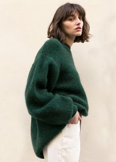Dark Green Melange Mohair Sweater – The Frankie Shop