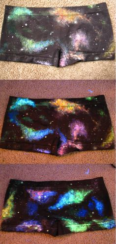 Galaxy Space Nebula Boy Shorts, hand painted, UV Black Light Reactive and Glow in the Dark :) //LIMITED QUANTITY, being discontinued 8/16//. $15.50, via Etsy.