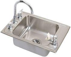 "Elkay DRKAD311945C 31"" Single Basin Drop-In Stainless Steel Utility Sink with Hi Stainless Steel Fixture Utility Sink Combination"