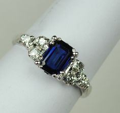 A Vintage Sapphire and Diamond Engagement Ring - Engagement Rings Vintage Sterling Silver Jewelry, Gemstone Jewelry, Jewelry Rings, Jewelery, Jewelry Accessories, Jewelry Design, Diamond Jewelry, Antique Jewelry, Dream Engagement Rings