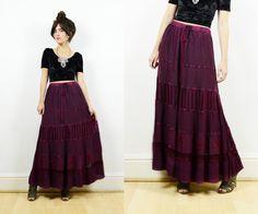 Vintage gypsy skirt maxi skirt boho skirt by bohokimono on Etsy