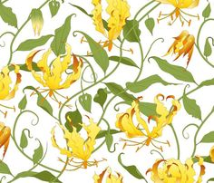 gloriosa vines on white - large scale fabric by michaelakobyakov on Spoonflower - custom fabric Of Wallpaper, Pattern Wallpaper, Buy Fabric Online, Spoonflower Fabric, All Design, Custom Fabric, Vines, Pattern Design, Craft Projects