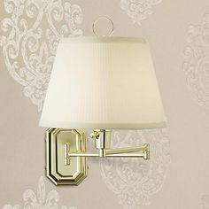 Brass with Ivory Mushroom Pleated Shade Plug-In Wall Lamp
